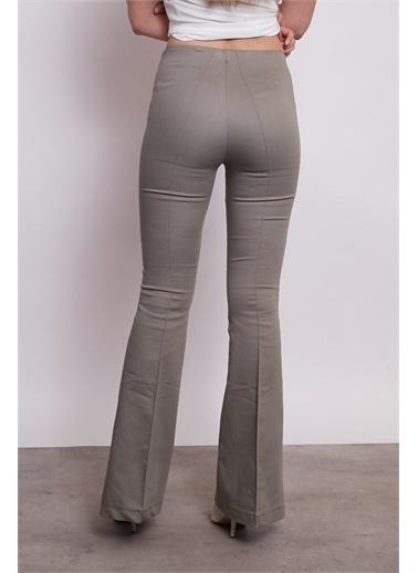 Jument Ön Arka Dikişli Ispanyol Paça Tayt Pantolon -Mint Haki